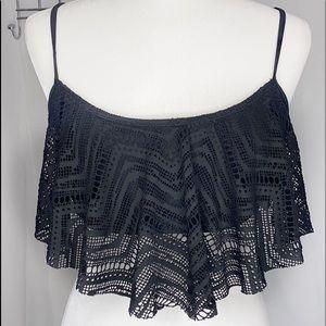 OP Black bikini top lace overlay XL